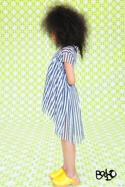 Bodebo robe résille rayée mela