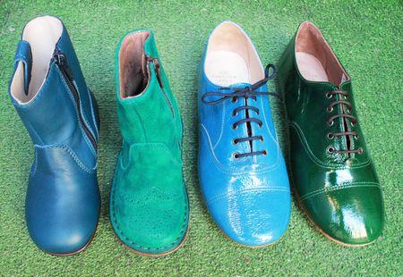 Pèpè chaussures tonalités de bleu et vert