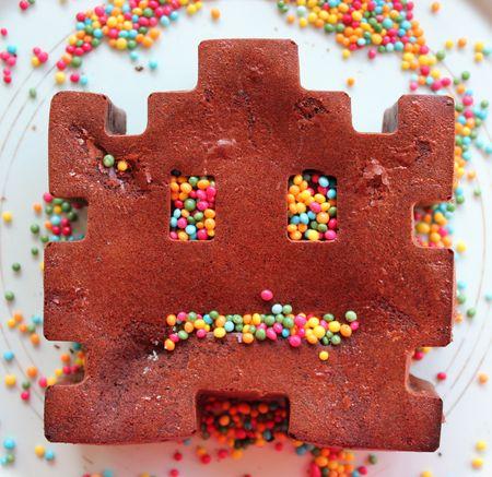 Space invader gâteau au chocolat