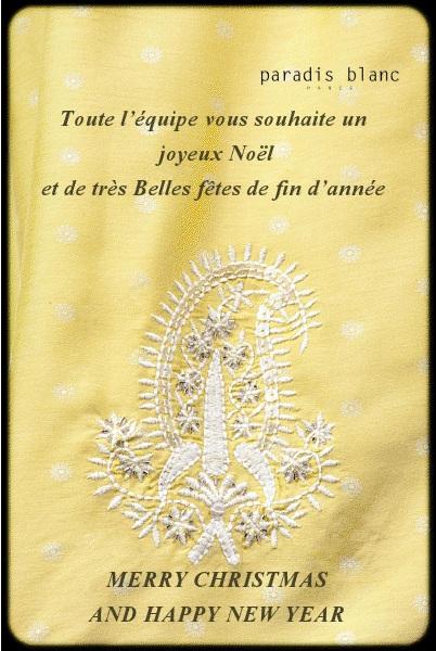 Carte voeux paradis blanc