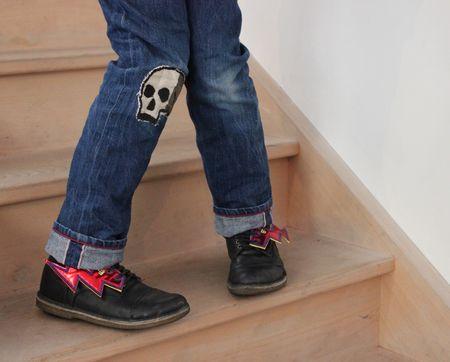 Eclairs rouges swings jean rockefella chaussures pèpè