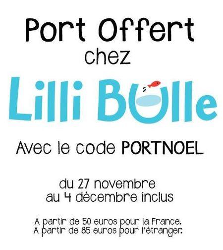 Port offert chez Lilli Bulle