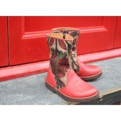Boots cuir rouge et tapisserie Pèpè