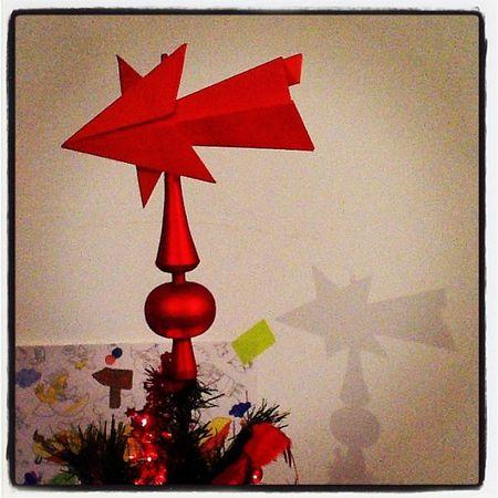 Sapin noël 2013 étoile origami rouge