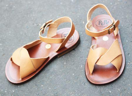 Pèpè sandales croisées cuir naturel lilli bulle