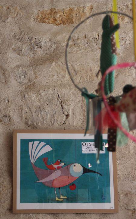 Corinne Bongrand cadre oiseau et mobile lilli bulle