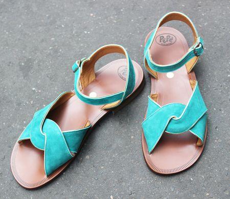 Pèpè sandales adultes nubuck turquoise et argent