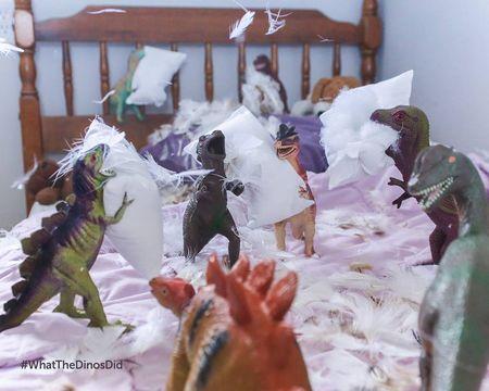 Les dinos font une bataille de Polochon