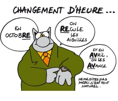 Geluck le chat changement d'heure