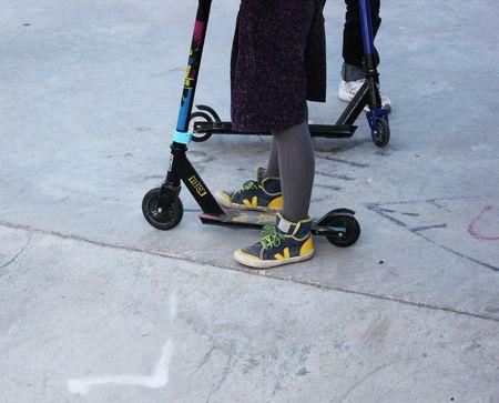 Sneackers SPMA en coton bleu jaune Veja